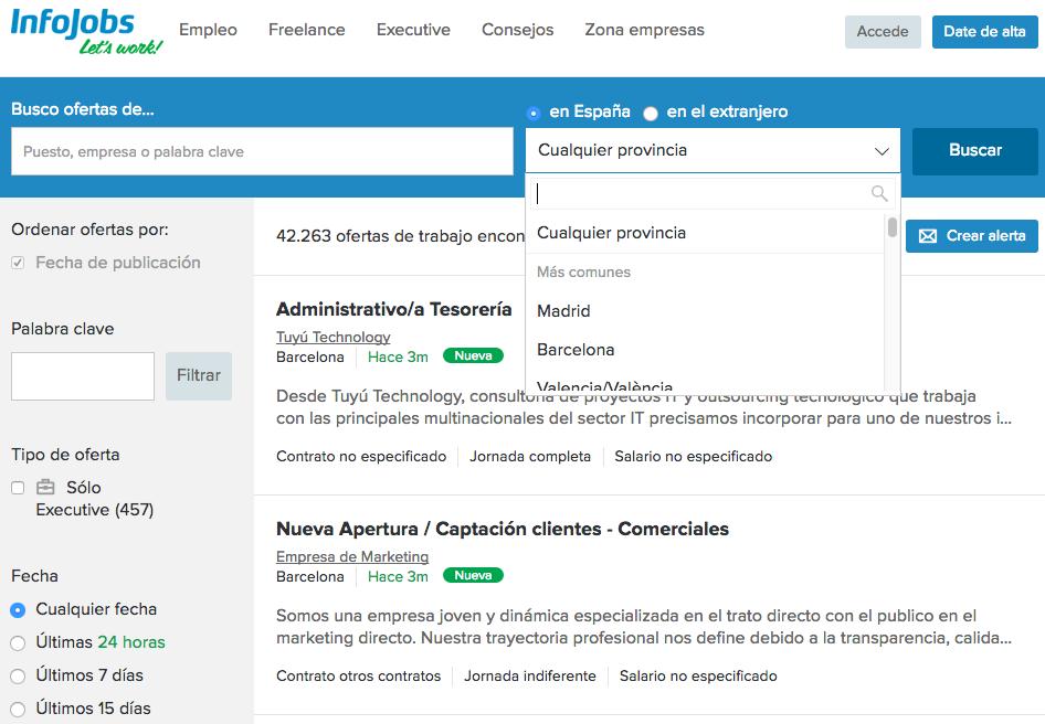 5 portales online donde buscar trabajo. Infojobs
