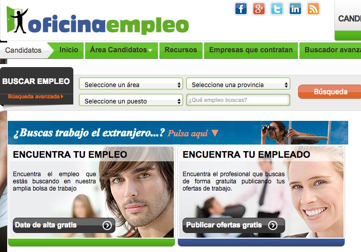 5 portales online donde buscar trabajo. OFICINAEMPLEO