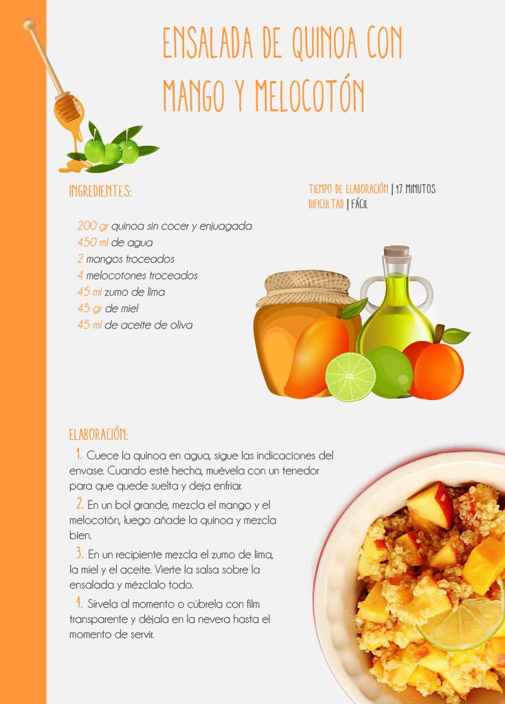 Receta saludable orgánica de Ensalada de Quinoa con mango y melocotón. detallada paso a paso toda la elaboración