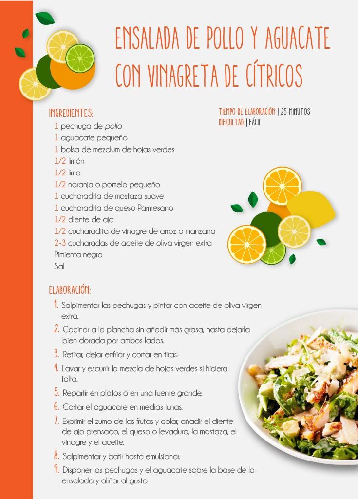Receta saludable de ensalada pollo y aguacate con vinagreta de cítricos elaborada con alimentos sanos y naturales para comer bien sin descuidar nuestra dieta saludable y equilibrada