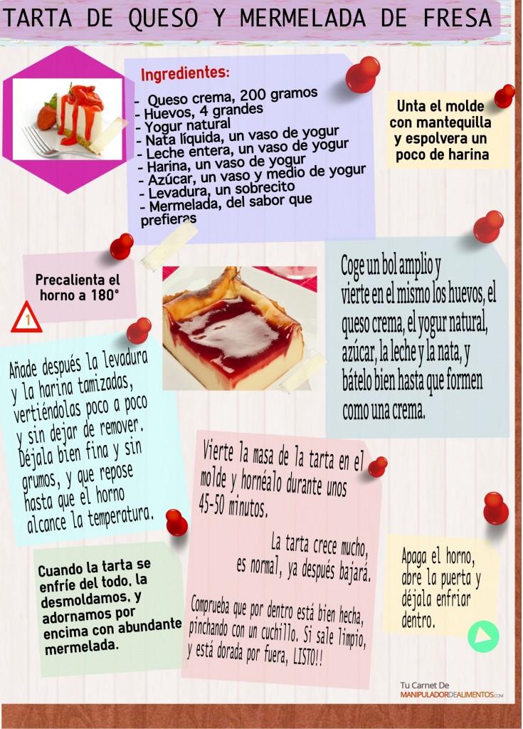 Receta saludable de tarta de queso y mermelada elaborada con alimentos sanos